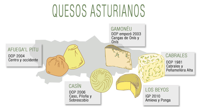 información de los quesos Asturianos